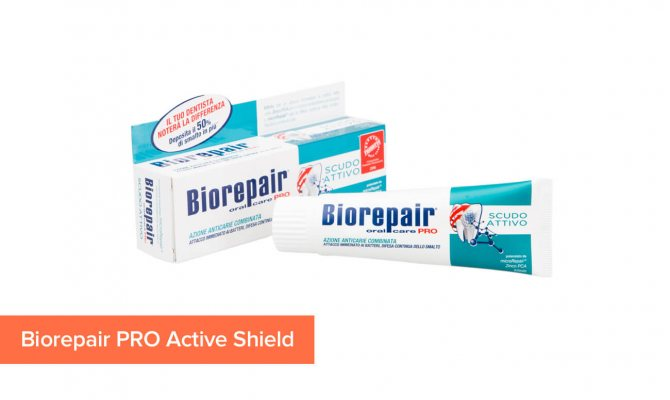 Фото зубної пасти з гідроксиапатиту Biorepair PRO Active Shield