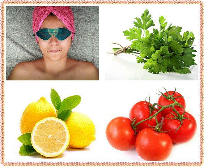 Маска від мішків під очима своїми руками з помідор і зелені