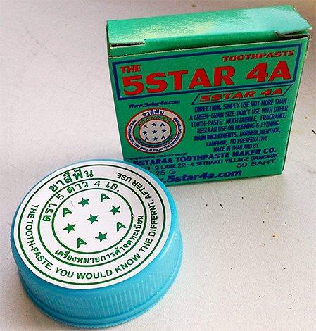 На фото показаний приклад ще однієї популярної зубної пасти з Таїланду - The 5 Star.