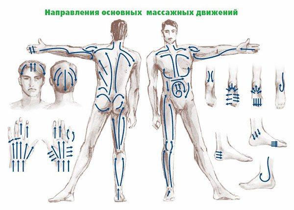 напрямок масажних рухів