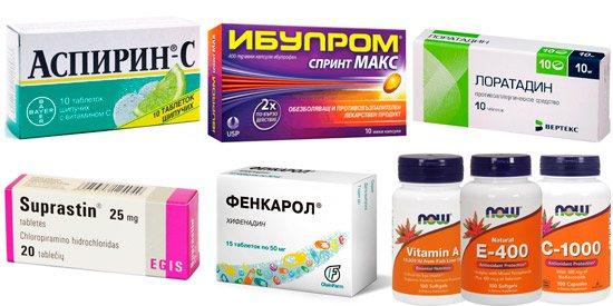 препарати для комплексного лікування сонячного опіку: Анальгін, Ібупром, Лоратадин, Супрастин, Хіфенадин, вітаміни А, Е і С