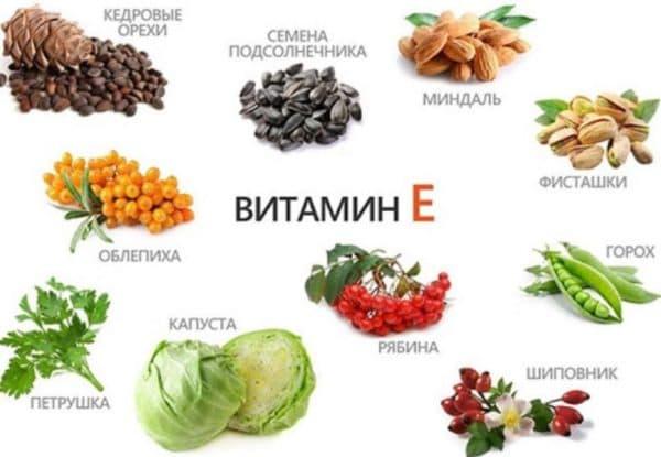 Продукти, в яких міститься вітамін Е