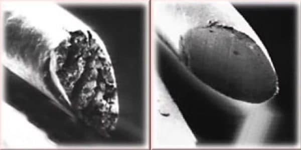 Зріз волоса під мікроскопом до і після стрижки гарячими ножицями