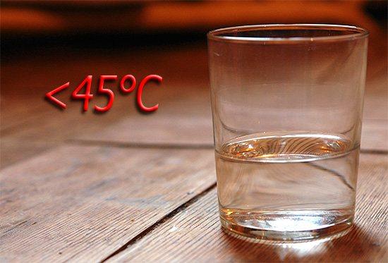 Температура розчину, використовуваного для полоскання рота, не повинна перевищувати 45 градусів Цельсія.